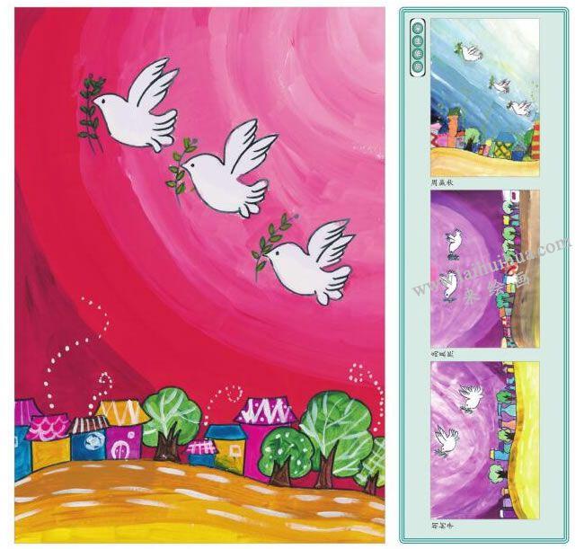迎着朝阳飞翔的鸽子水粉画作品
