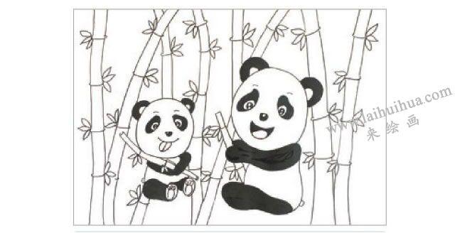 熊猫吃竹子水粉画作画步骤02