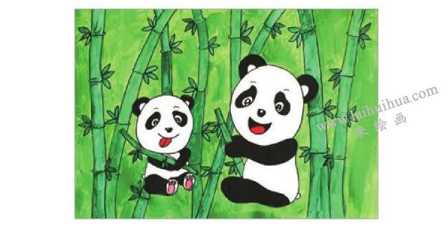 熊猫吃竹子水粉画作画步骤05