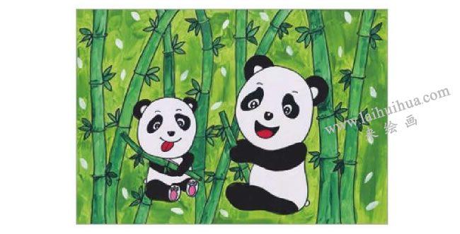 熊猫吃竹子水粉画作画步骤06
