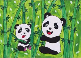 熊猫吃竹子水粉画作画步骤