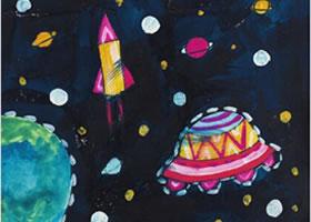 星空水粉画作画步骤