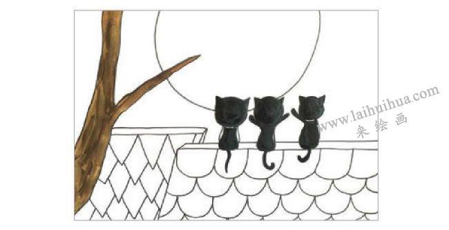 三只小猫水粉画作画步骤02
