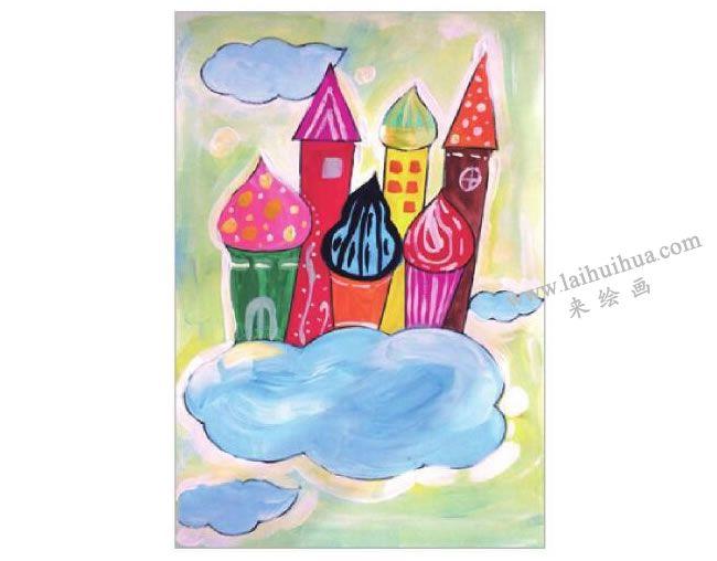 梦幻城堡水粉画作画步骤06