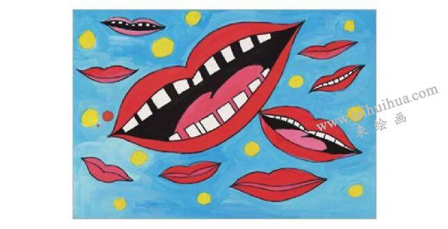 大嘴巴水粉画作画步骤06