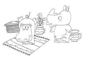 河马和犀牛卡通画造型