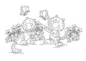小猫和蝴蝶卡通画造型