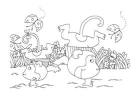 倒立的小猴子卡通画造型