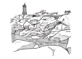 黑白风景速写中的自然景物的表现方法