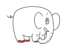 大象儿童卡通画法步骤