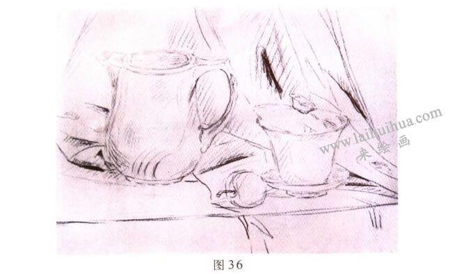 茶具水彩画写生步骤01