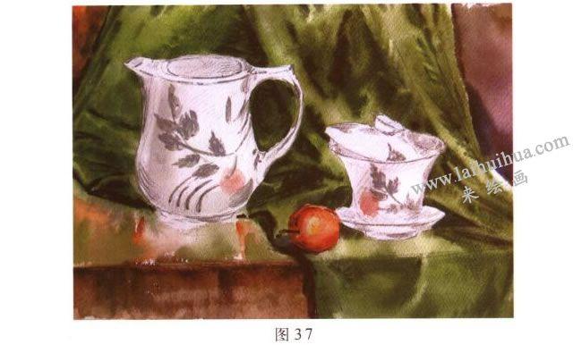 茶具水彩画写生步骤02