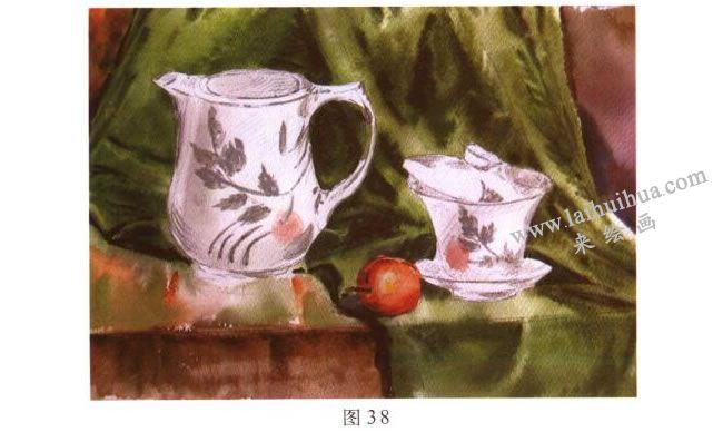 茶具水彩画写生步骤03