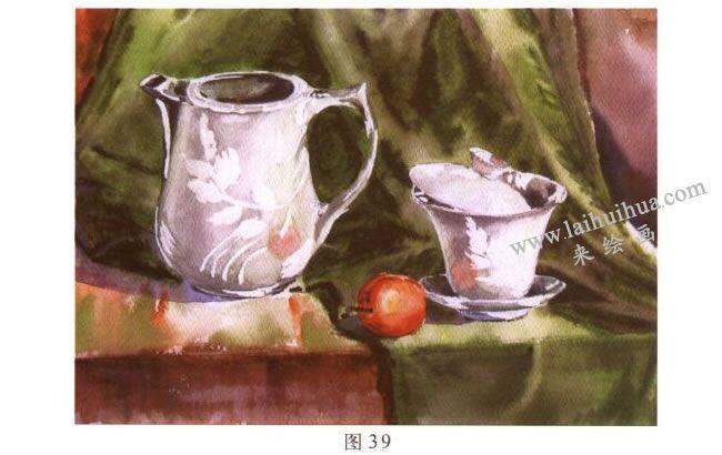 茶具水彩画写生步骤04