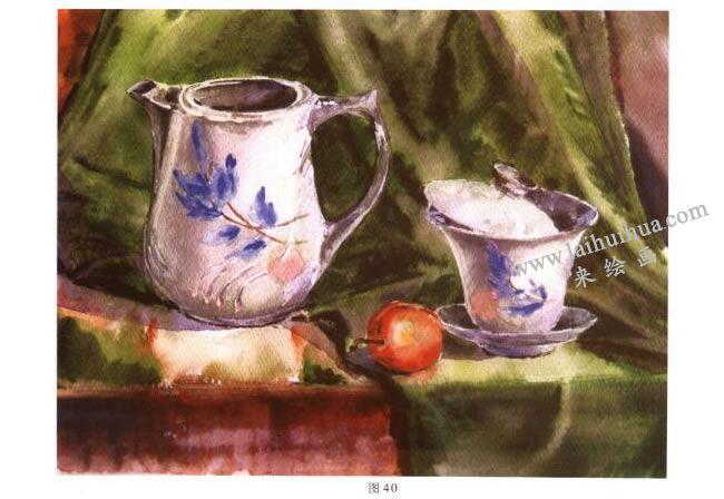 茶具水彩画写生步骤