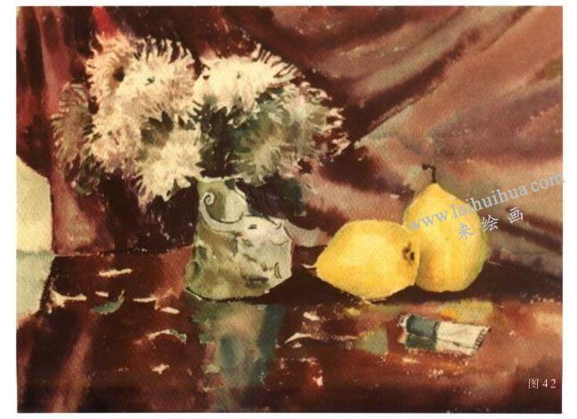 菊梨组合水彩画