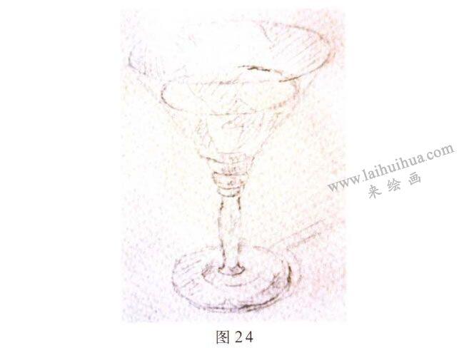 玻璃酒杯水彩画写生步骤01
