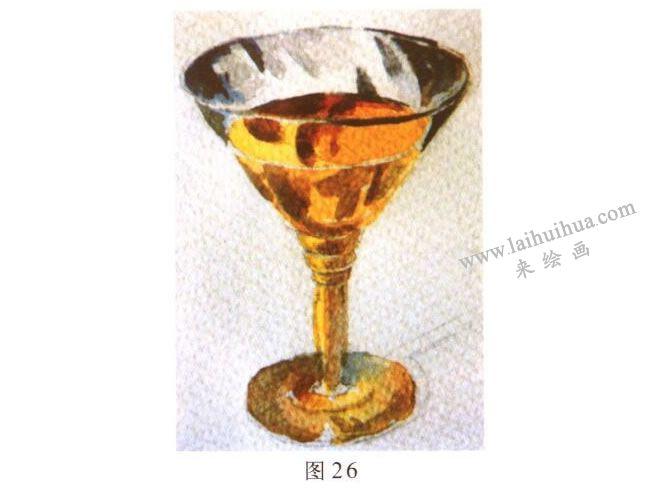 玻璃酒杯水彩画写生步骤03