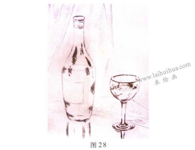 玻璃酒具水彩画写生步骤01