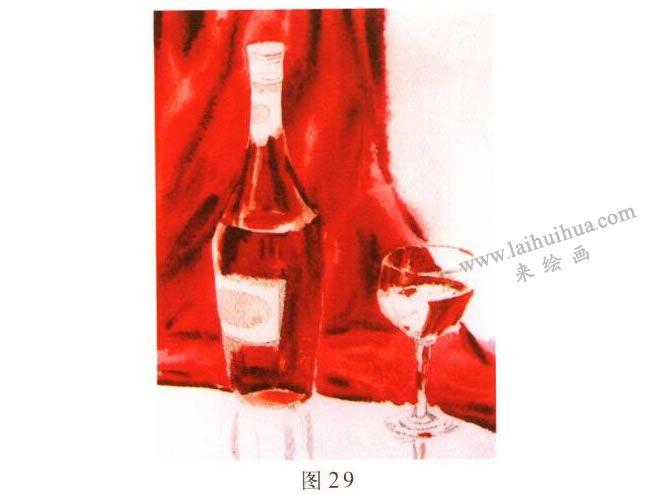 玻璃酒具水彩画写生步骤02