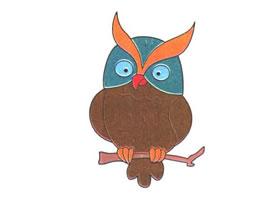 猫头鹰儿童卡通画法步骤