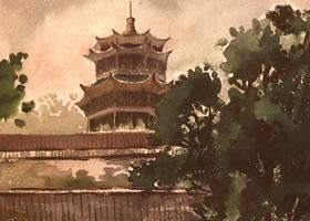 《塔》风景水彩的写生步骤与方法