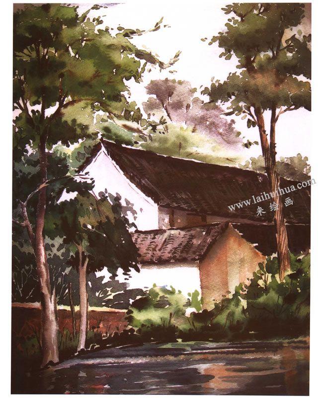 《村舍》风景水彩画