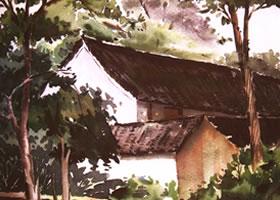 《村舍》风景水彩画的写生步骤与方法