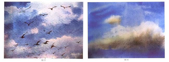 云天的水彩画法