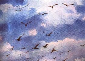 天空和云彩的水彩画法