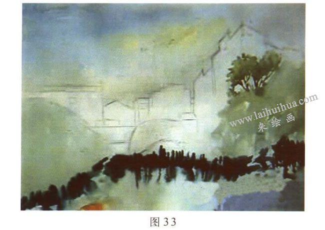 《宏村一角》水彩风景画的写生步骤01
