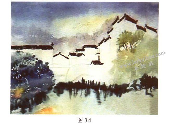 《宏村一角》水彩风景画的写生步骤02