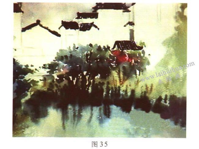 《宏村一角》水彩风景画的写生步骤03