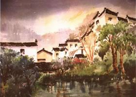 《宏村一角》水彩风景画的写生步骤与方法