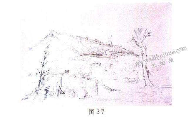 《林场小屋》风景水彩画的写生步骤01