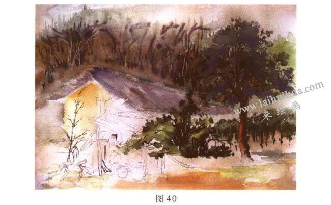 雨后小屋_《林场小屋》风景水彩画的写生步骤与方法- 来绘画网