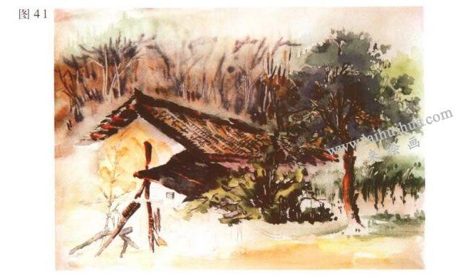《林场小屋》风景水彩画的写生步骤05