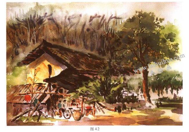《林场小屋》风景水彩画的写生步骤06