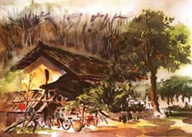 《林场小屋》风景水彩画的写生步骤与方法