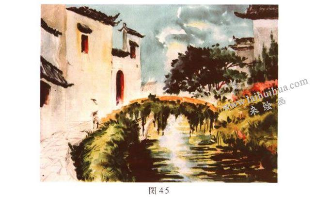 《小桥•流水•人家》风景水彩画的写生步骤03