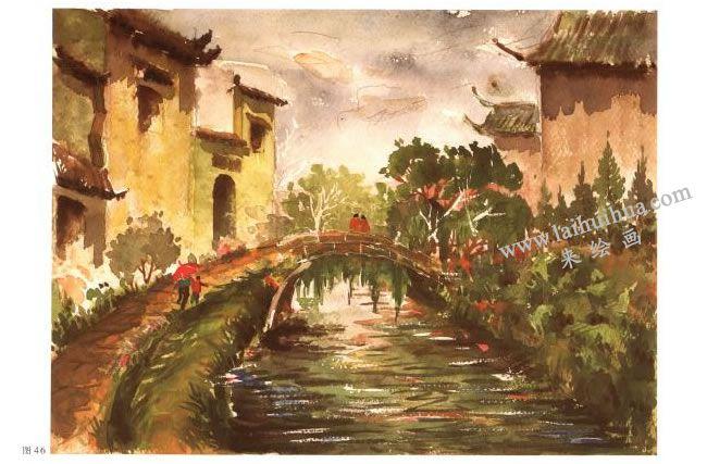 《小桥•流水•人家》风景水彩画的写生步骤04