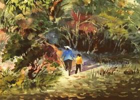 《归途》水彩画的写生步骤与方法