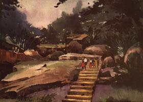 《奇峰观景》水彩画的写生步骤与方法