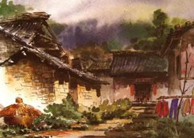 《老宅》水彩画的写生步骤与方法