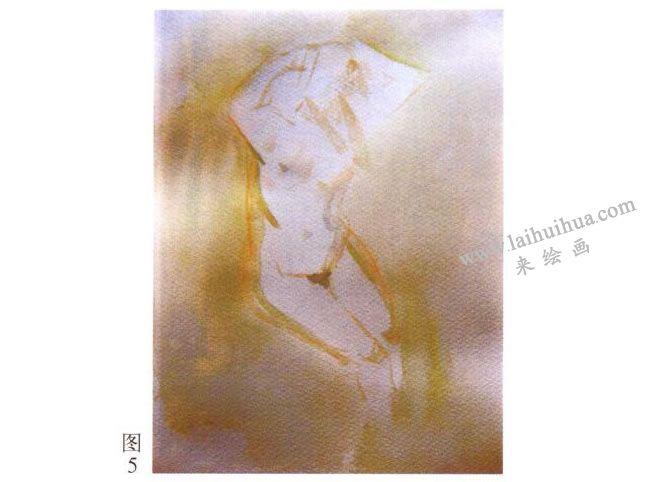 人体水彩画写生步骤01