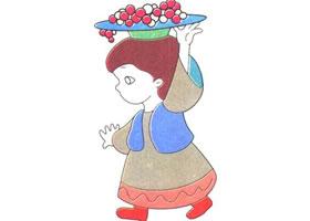 新疆女孩儿童卡通画法步骤