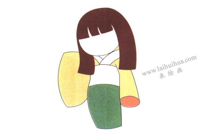 和服,日本娃娃儿童卡通画法步骤