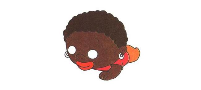 上身和臀部,非洲小孩儿童卡通画法步骤02