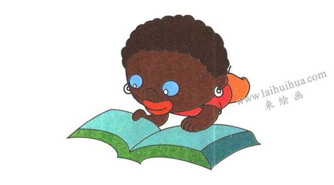 地上的书本,非洲小孩儿童卡通画法步骤03