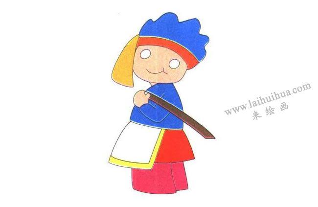 小女孩的围裙,背筐的小女孩儿童卡通画法步骤02